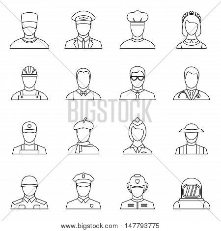 Professions icons set in outline style. People activities set collection vector illustration