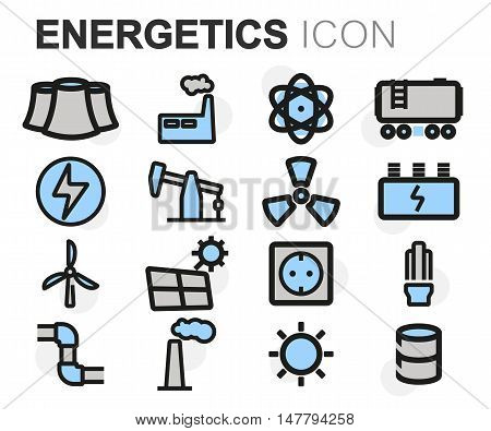 Vector flat line energetics icons set on white background