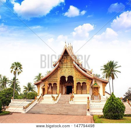 Temple in a traditional laotian style, Royal Palace Museum, Luang Prabang, Laos