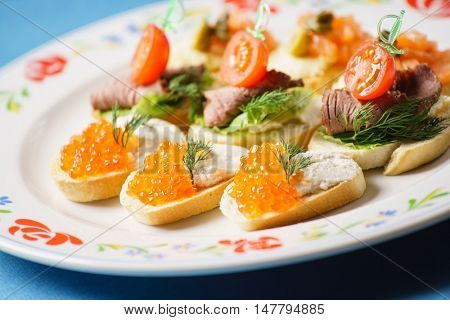 canape on catering table