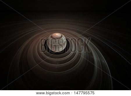 Brown striped planet in 3D with Saturn's rings in outer space, the color of coffee with milk