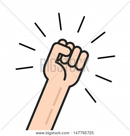 Fist vector icon isolated on white background, hand with shaking fist raised up, concept of election, motivated employee, person shouting, achievement, leadership punch outline line