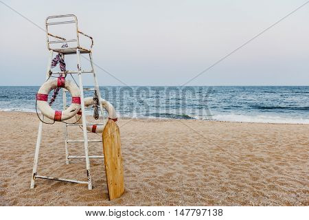 Life Guard Chair Flotation Buoy Sea Shore Concept