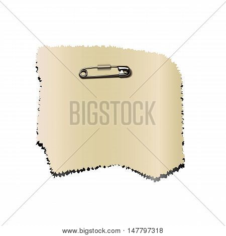 sticker pinned closed safety pin vector illustration