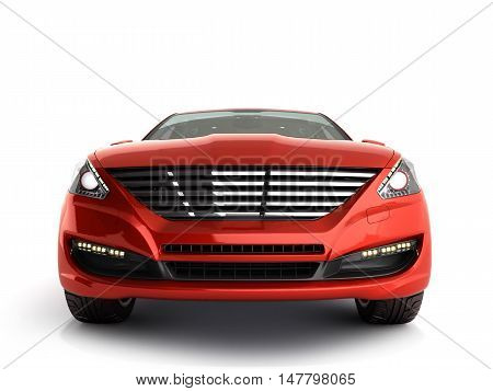 Red Car Front View 3D Render On White