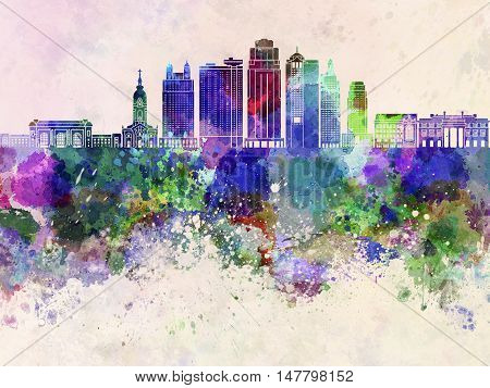 Kansas City skyline artistic abstract in watercolor background