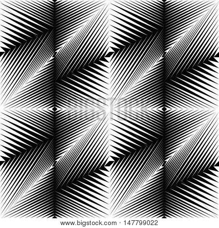 Seamless Diagonal Stripe and Line Pattern. Abstract Symmetrical Wallpaper. Vector Black and White Background