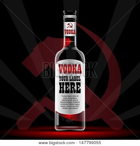Vector vodka bottle mockup with your label here text. Silver bottle with sickle and hammer logo and cap over black background