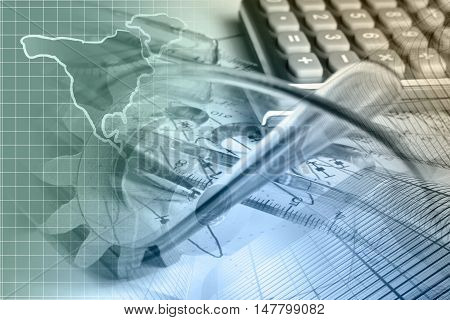 Financial background with map calculator graph and pen toned.