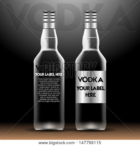 Vector vodka bottles mockup with your label here text. Silver bottle with caps over black background