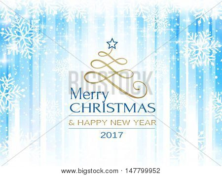 A stylized Christmas tree with star and the text Merry Christmas and Happy New Year on a blue white striped background. Snowfall and light effects give it a soft and dreamy feeling.