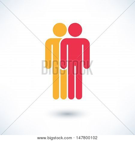 Colored two people man figure with gray drop shadow isolated on white background in simple flat style. Graphic clip-art design elements save in vector illustration 8 eps