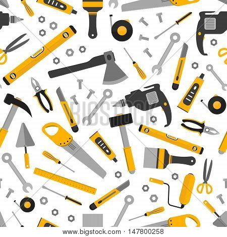 Flat working home tools pattern. Construction and home repair instruments. Hand drill glue screwdriver saw and pliers level hammer and scissors. Vector