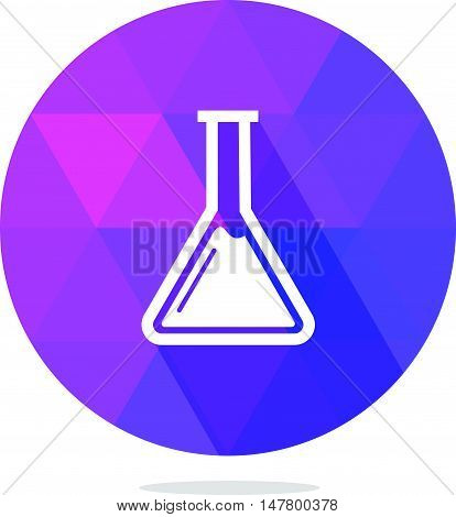 Modern Low Poly Chemistry Flask or Beaker Icon with Long Shadow