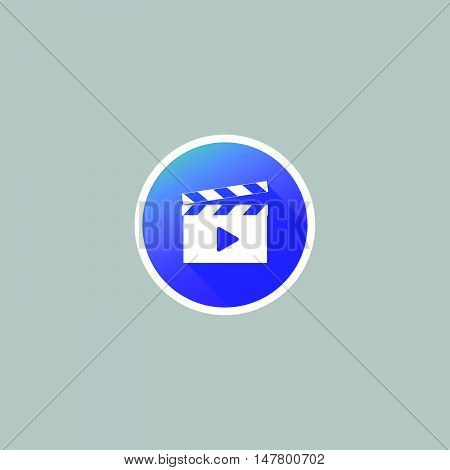 Modern Movie Clapper Icon with Long Shadow