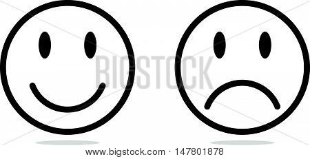 Simple Circle Round of Smile and Sad Icon
