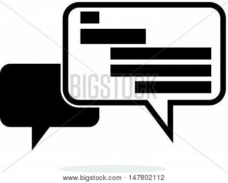 Simple Dual Black and White Bubble Speech Icon