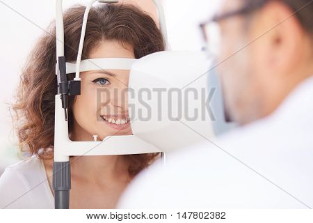 young woman take care of her eyes