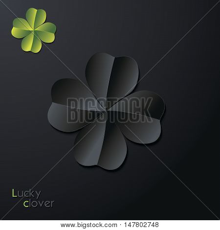 Lucky four-leaf clover leaf on dark background. Black and green colors. Vector illustration