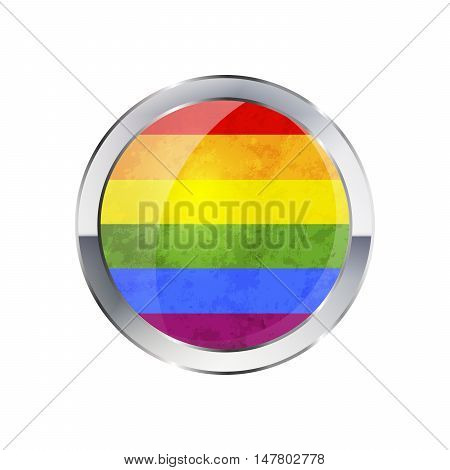 Round glossy icon with metallic border of LGBT flag isolated on white