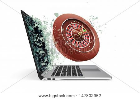 The concept of online casinos, takes off from the laptop isolated on white background. 3d illustration.
