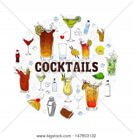 vector concept with different cocktails elements and ingredients. Unique illustration in color for t-shirts banners flyers and other types of design.