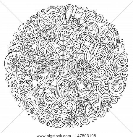 Cartoon cute doodles hand drawn nautical illustration. Line art detailed, with lots of objects background. Funny vector artwork. Sketchy picture with marine theme items