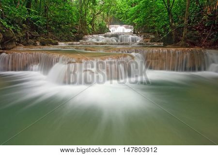 Huay Mae Khamin Waterfall First Level, Paradise waterfall in Tropical rain forest of Thailand