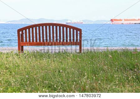 wooden beach chair with sea landscape at Srichang Island Pattaya Thailand