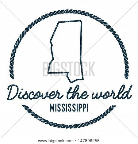 Mississippi Map Outline. Vintage Discover The World Rubber Stamp With Mississippi Map. Hipster Style
