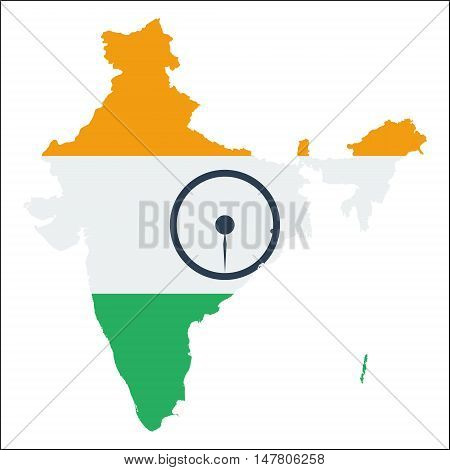 India High Resolution Map With National Flag. Flag Of The Country Overlaid On Detailed Outline Map I