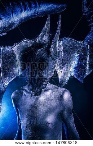 Horned devil. Halloween. Fantasy. Art project.