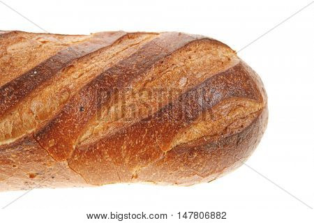 white flour french fresh baked bread loaf isolated on white background
