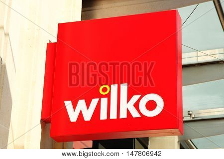 Cardiff, Wales, UK , September 14, 2016 : Wilko logo advertising sign outside its retail store in Queen Street