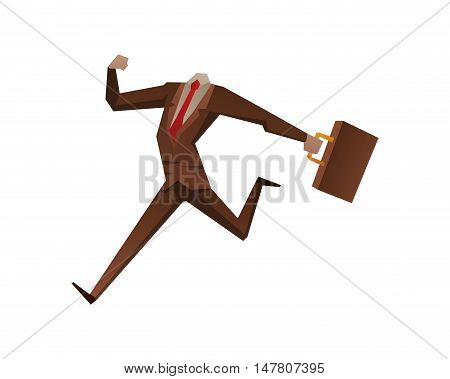 Businessman with no head vector illustration. Time business concept. Businessman clock time run and delay. Business man time concept situation, time concept, Stil office life, no head man