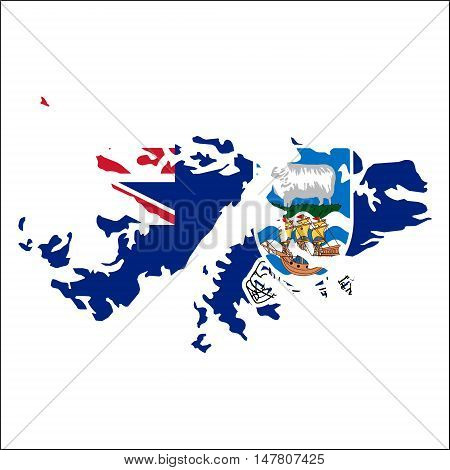Falkland Islands (malvinas) High Resolution Map With National Flag. Flag Of The Country Overlaid On
