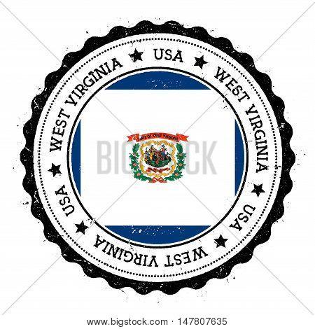 West Virginia Flag Badge. Grunge Rubber Stamp With West Virginia Flag. Vintage Travel Stamp With Cir