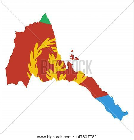 Eritrea High Resolution Map With National Flag. Flag Of The Country Overlaid On Detailed Outline Map