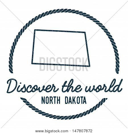 North Dakota Map Outline. Vintage Discover The World Rubber Stamp With North Dakota Map. Hipster Sty