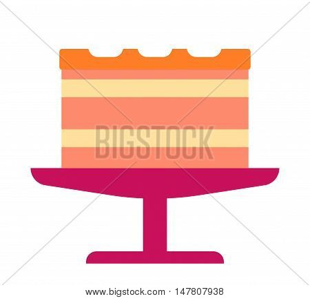 Pie isolated cake vector. Wedding or birthday cake sweet dessert homemade pie. Cream brownie cake topped pie isolated on white