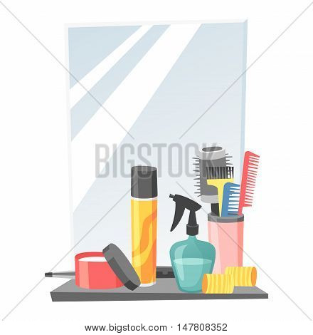 Cute hairdresser hair care icons isolated on white. Professional stylish hairdresser barber hair cutting tools. Client barber equipment icons isolated.