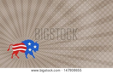 Business Card showing Illustration of an american bison buffalo bull with american stars and stripes flag as part of the body and head viewed from the side set on isolated white background done in retro style.