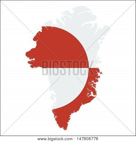 Greenland High Resolution Map With National Flag. Flag Of The Country Overlaid On Detailed Outline M
