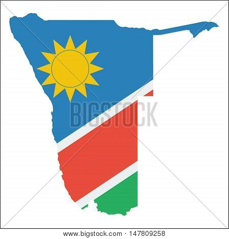 Namibia High Resolution Map With National Flag. Flag Of The Country Overlaid On Detailed Outline Map