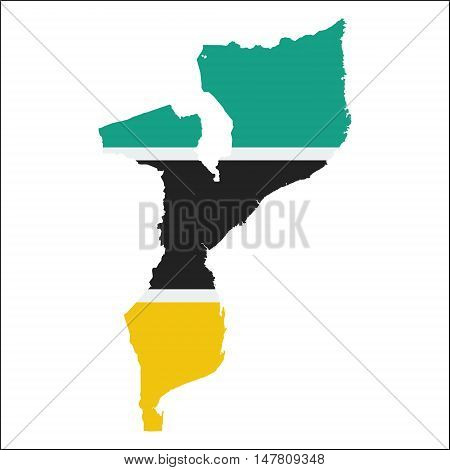 Mozambique High Resolution Map With National Flag. Flag Of The Country Overlaid On Detailed Outline