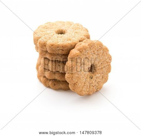 stack of sweet cookies on a white background