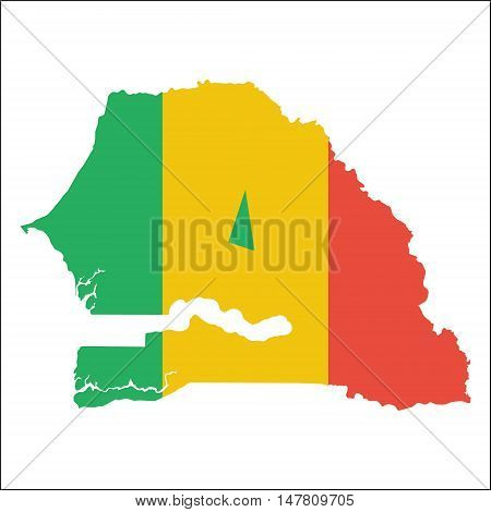 Senegal High Resolution Map With National Flag. Flag Of The Country Overlaid On Detailed Outline Map