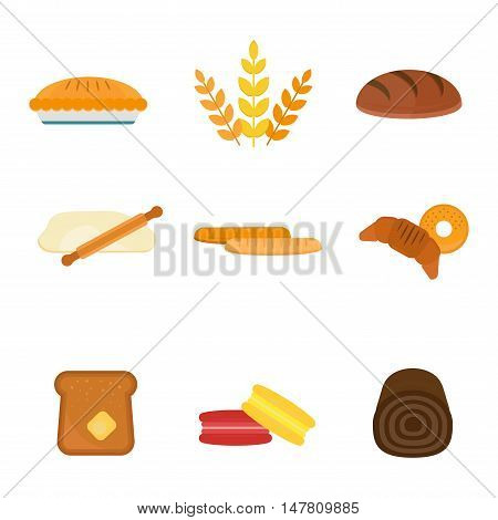 Vector fresh baked bread products icons isolated on white background. Bread bakery sweet products