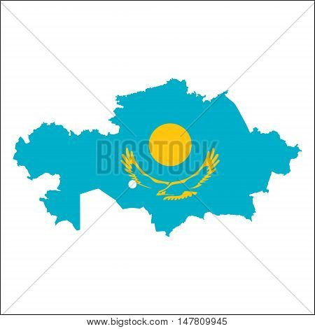 Kazakhstan High Resolution Map With National Flag. Flag Of The Country Overlaid On Detailed Outline