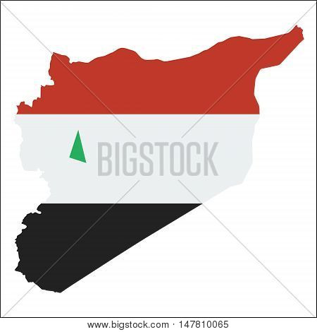 Syrian Arab Republic High Resolution Map With National Flag. Flag Of The Country Overlaid On Detaile